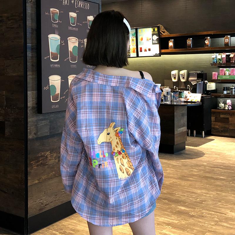 珍珍家洋气长颈鹿卡通印花格子衬衫女韩版2019夏季防晒上衣外套薄