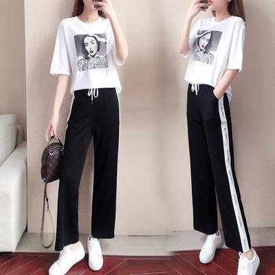 阔腿裤套装女夏2019新款韩版宽松显瘦短袖跑步服休闲运动两件套潮
