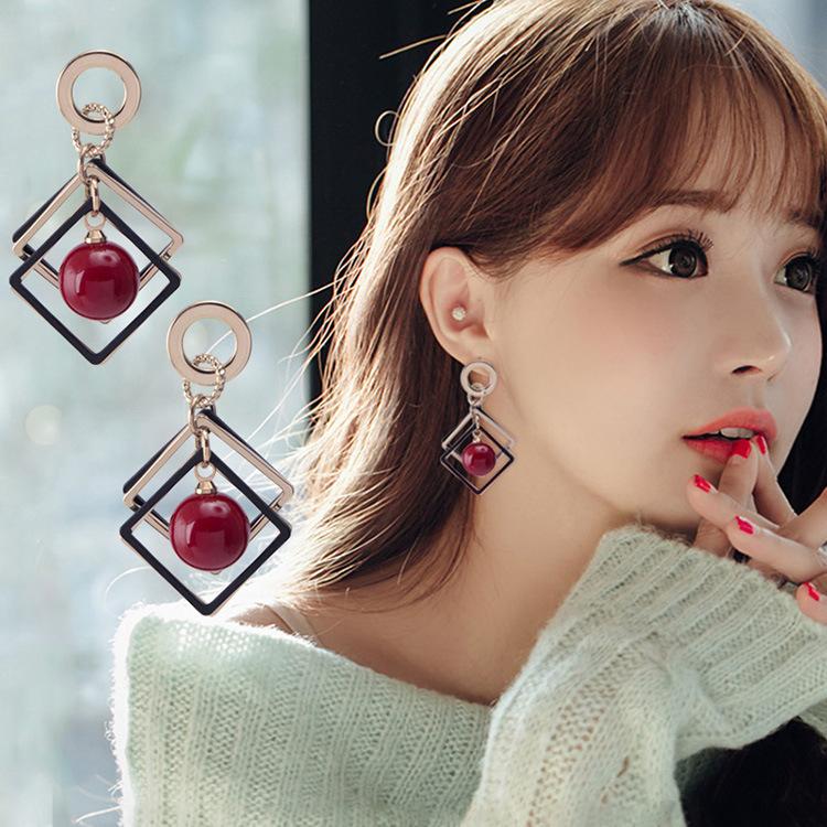 爆款韩国个性简约菱形樱桃珍珠大耳钉百搭耳环女气质长款耳饰