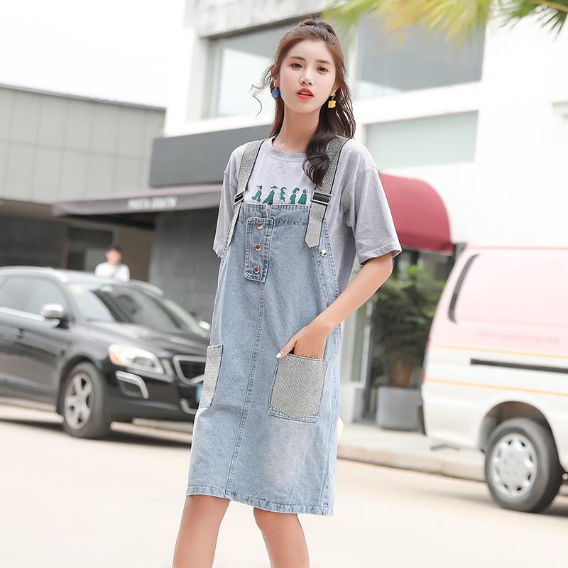 实拍牛仔背带裙女中长款2019夏装新款韩版镶钻修身背带连衣裙潮
