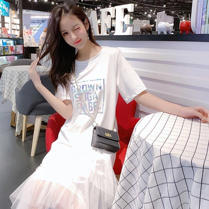 夏季2019新款女裝寬松百搭短袖拼接網紗不規則學生中長款連衣裙女