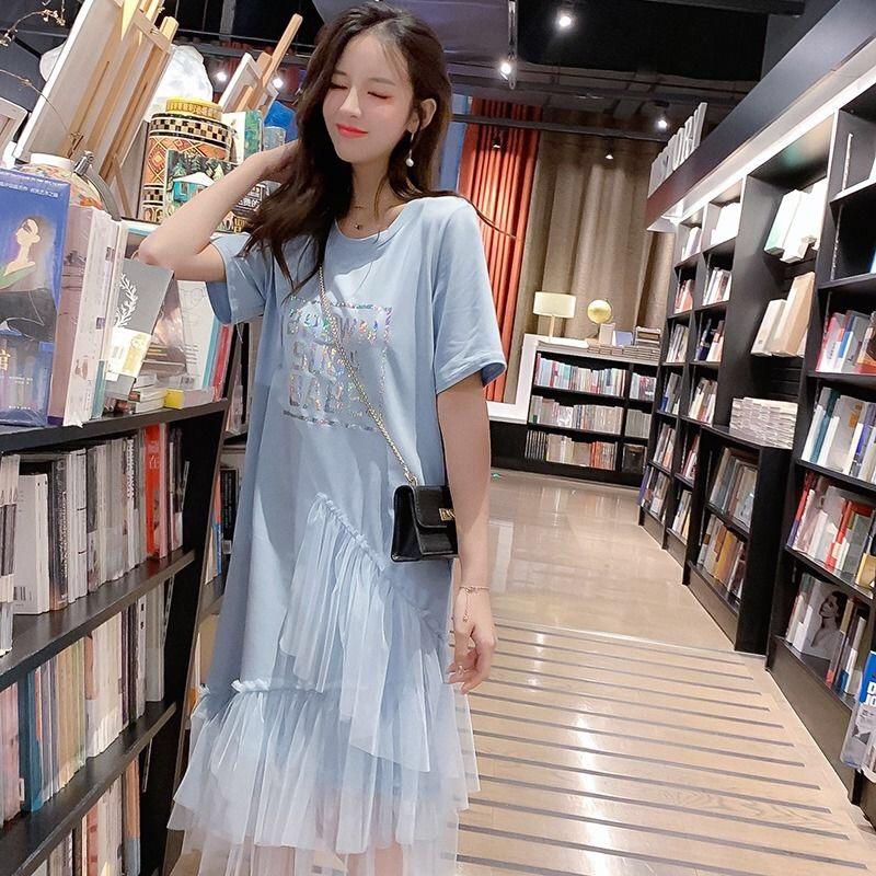 夏季2019新款女装宽松百搭短袖拼接网纱不规则学生中长款连衣裙女