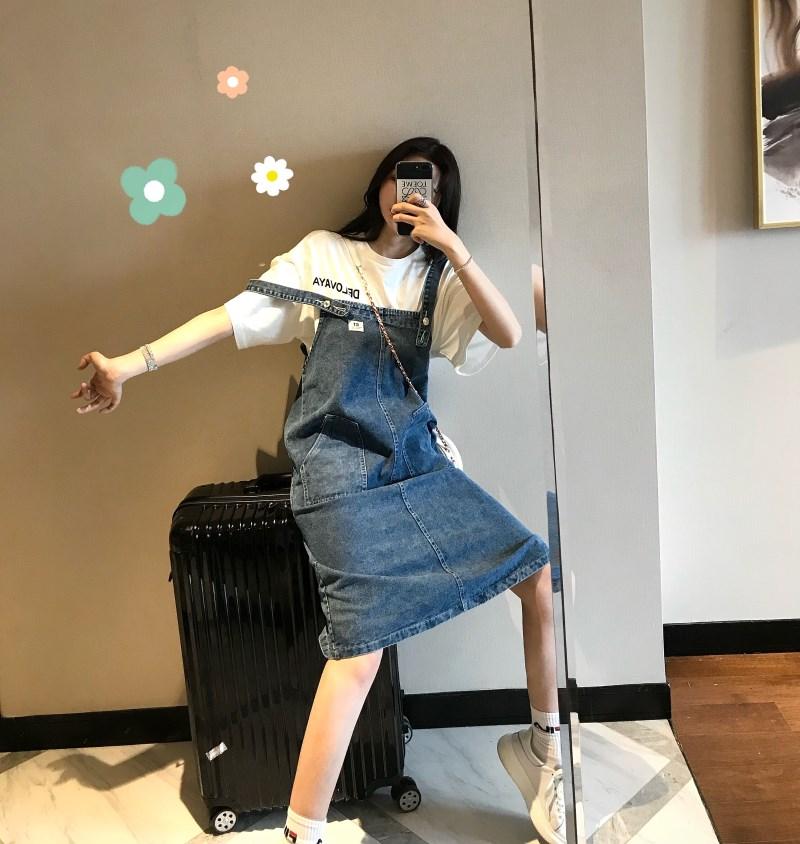 實拍實價 控價49 2019夏裝新款減齡顯瘦牛仔背帶裙寬松牛仔裙