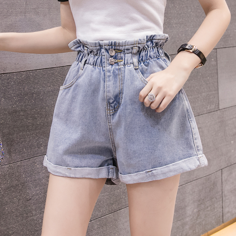 高腰牛仔短褲女2019夏新款寬松顯瘦彈力闊腿褲學生熱褲性感花苞褲