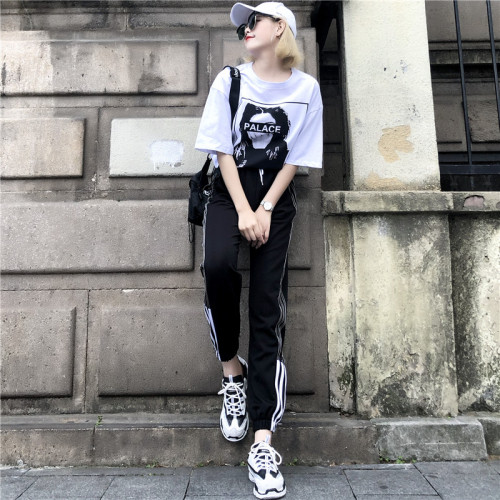 洋气网红时尚两件套潮2019夏季新款小心机嘻哈酷酷运动休闲套装女