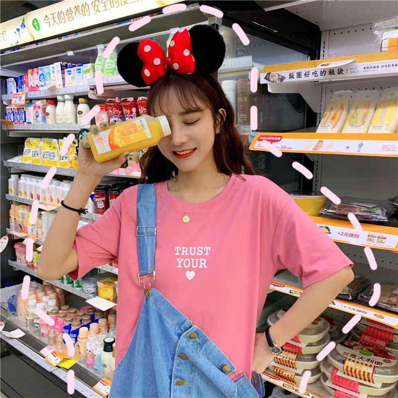 2019春夏韩版网红翅膀宽松短袖t恤女学生糖果色内搭T恤上衣