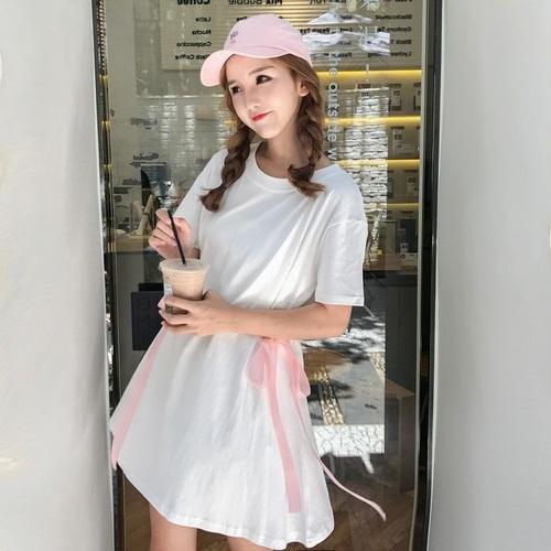 2019春夏季新款时尚女装小清新连衣裙学生韩版软妹收腰中长款T裙