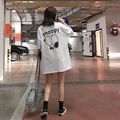 2019夏季新款百搭可爱潮史努比小狗印花宽松短袖T恤时尚休闲上衣
