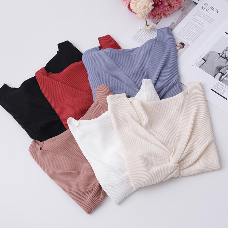实拍夏装韩版修身v领上衣女性感百搭冰丝针织衫女短袖t恤女打底衫