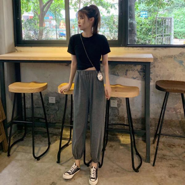 夏季女装两件套2019新款韩版短袖T恤+运动休闲裤网红套装