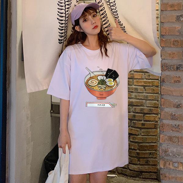 实拍100纯棉 短袖T恤女大码女装200斤胖妹妹宽松印花学生中长款潮