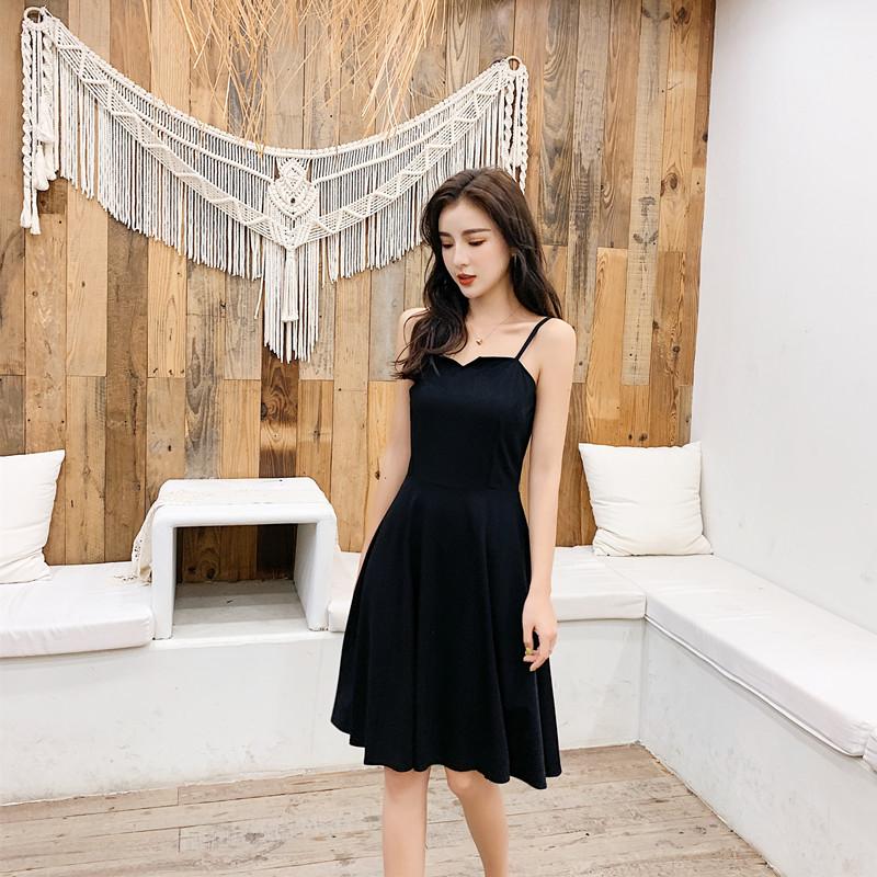 實拍2019赫本小黑裙復古法式吊帶連衣裙