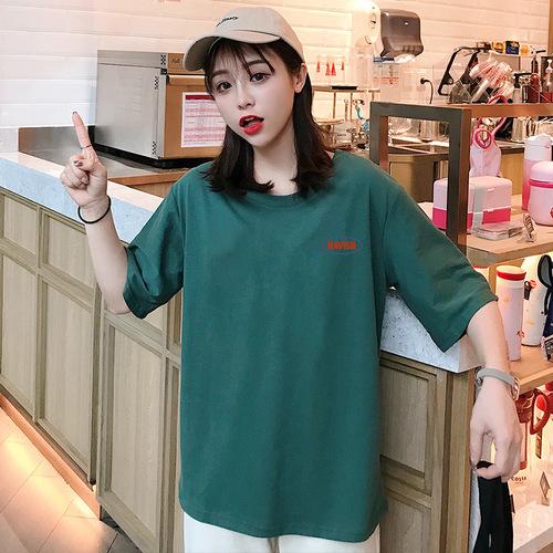 实拍100棉纯棉短袖t恤女2019夏装新款韩版宽松圆领套头印花上衣女