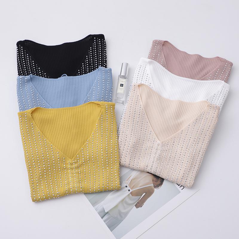 bling!bling!让你美出新高度!清凉透气 亮钻V领短袖T恤针织衫