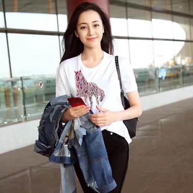 2019运动套装网红潮牌欧美风宽松纯棉韩版短袖卡通动物印花T恤