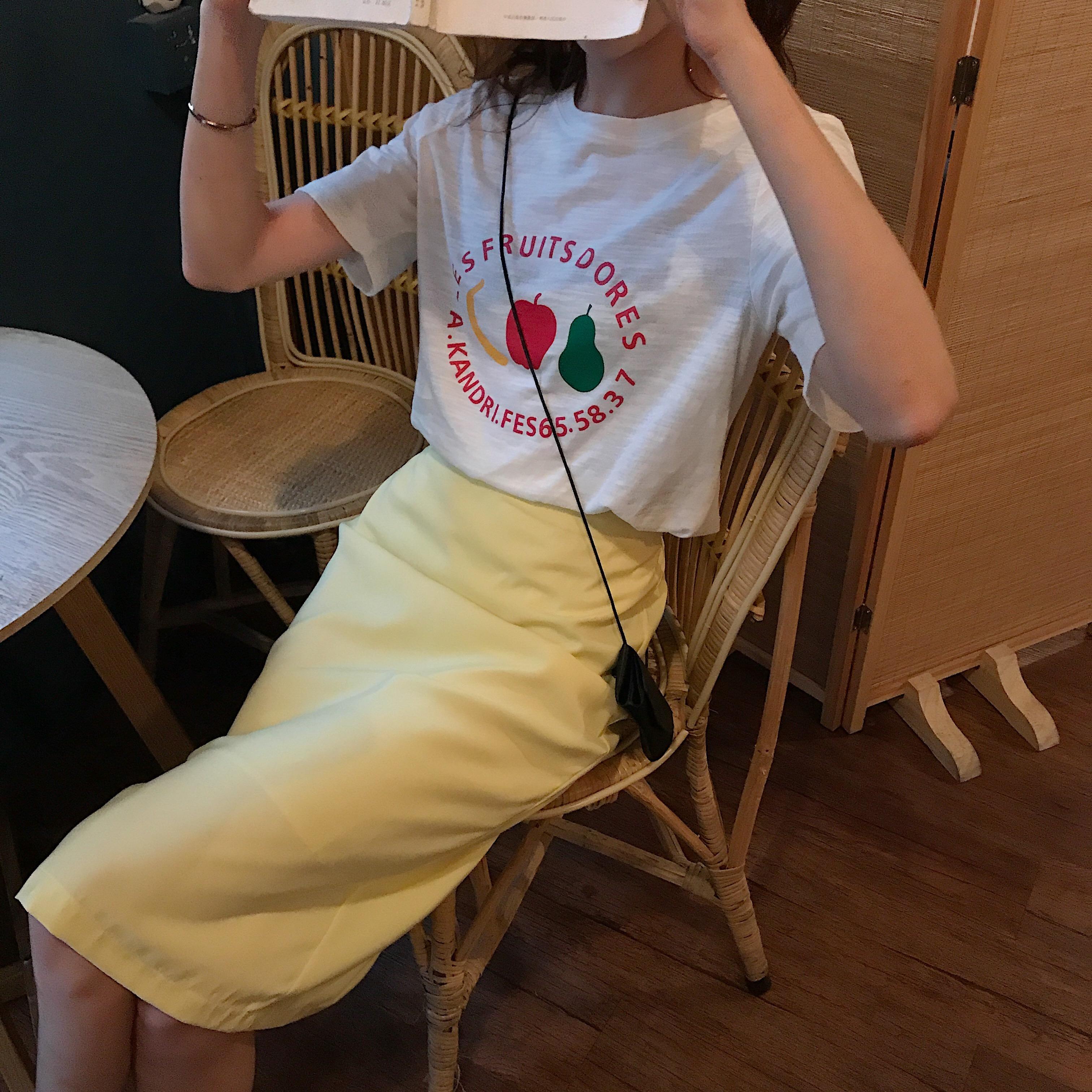 控价5实拍?#23548;?#23567;清新甜美字母印花短袖T恤+显瘦高腰气质a字包臀裙