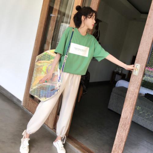 官图 2019夏季时尚新款韩版短袖长裤两件套洋气网红休闲运动套装