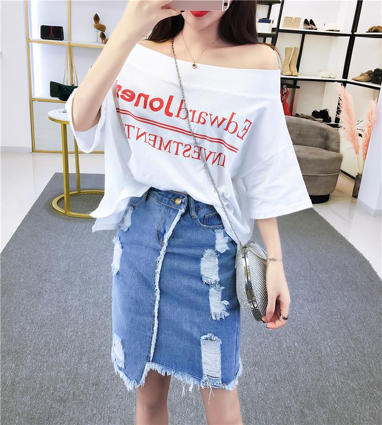 实拍控价+3 2019夏季新款韩版一字领宽松百搭字母印花短袖T恤