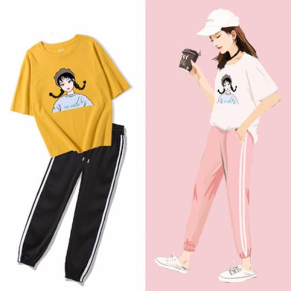 运动套装女夏2019新款宽松时尚休闲两件套女学院风学生韩版t恤女
