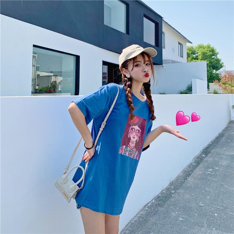 实拍 纯棉夏季新款韩版百搭短袖T恤女宽松中长精梳纯棉95棉5氨纶
