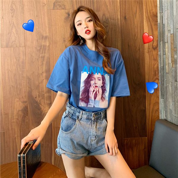 实拍纯棉超火cec夏季短袖T恤女宽松中长款40s精棉拉架95棉5氨纶
