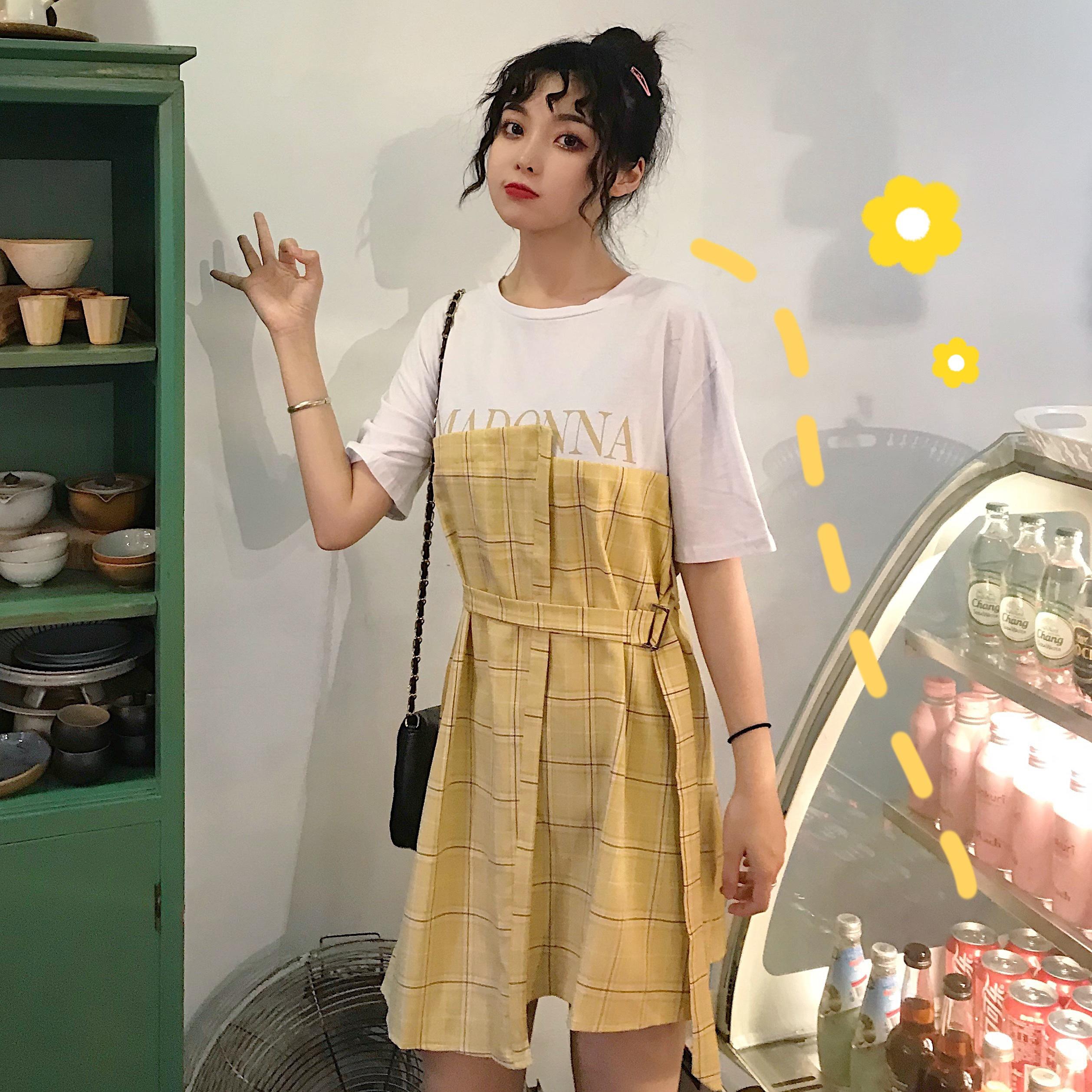控價5 實拍實價短袖修身格子系帶拼接假兩件連衣裙女