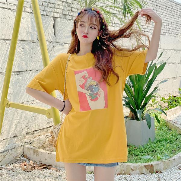 實拍 夏季短袖T恤女寬松中長半袖上衣精梳純棉95棉5氨綸韓國燙圖