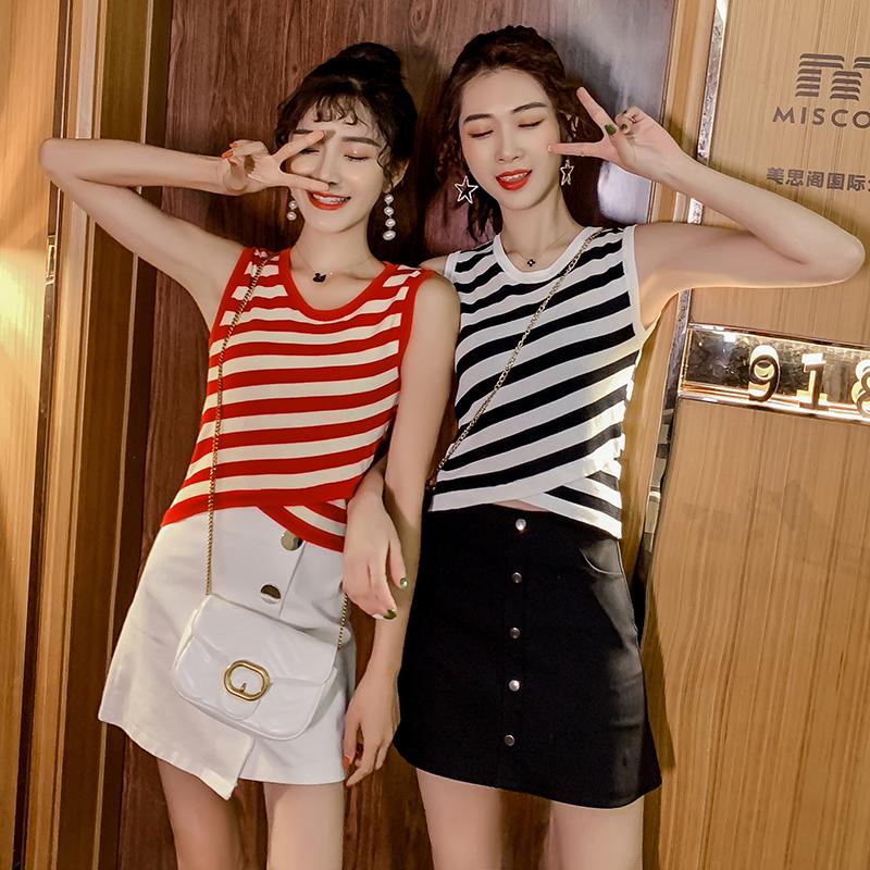 露臍背心女夏條紋外穿2019韓版新款t恤露腰短款性感上衣緊身內搭