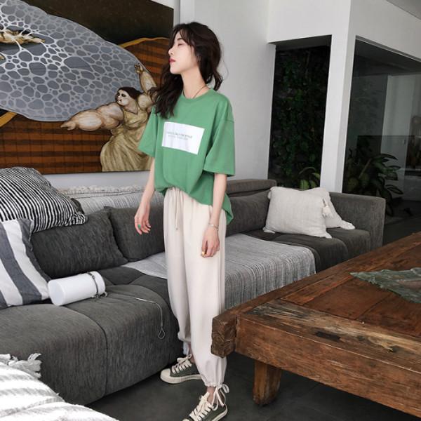 官圖 2019夏季時尚新款韓版短袖長褲兩件套洋氣網紅休閑運動套裝