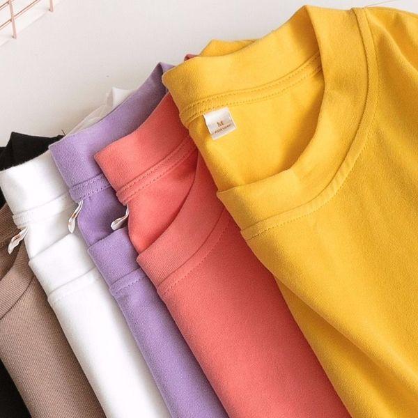 純棉好質量百搭純色短袖T恤女寬松白色體恤打底衫學生圓領上衣服