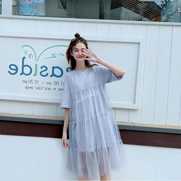 胖mm皮卡丘聯名2019夏季新款網紗裙子顯瘦很仙的大碼連衣裙