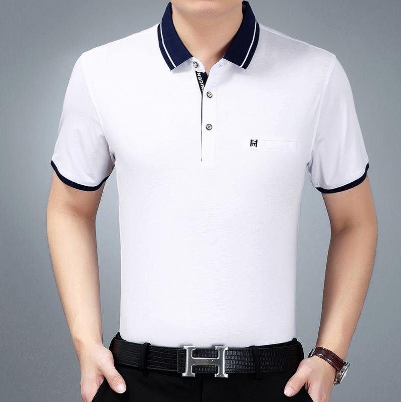 父亲节礼物短袖T恤商务纯色男装上衣中老年宽松翻领大码爸爸装
