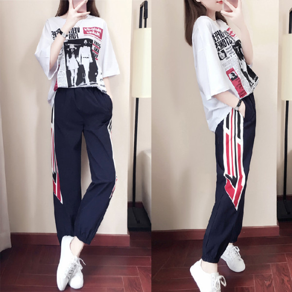 現貨 夏季套裝女2019新款韓版寬松休閑上衣T恤褲子時尚運動兩件套