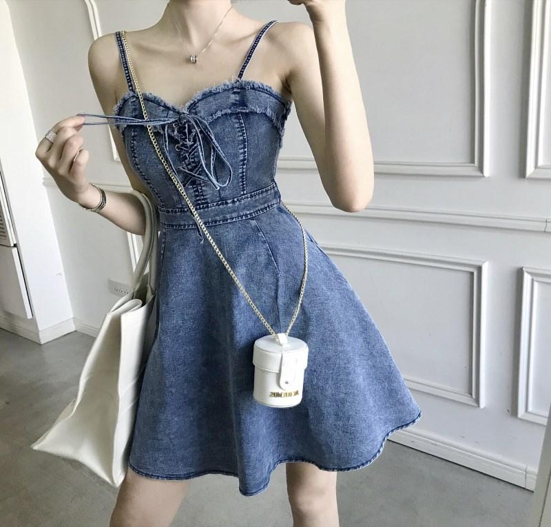 實拍實價 控價45 新款綁帶修身顯瘦牛仔吊帶裙A字裙
