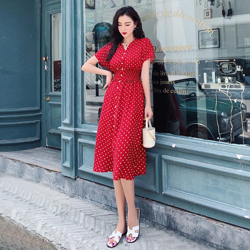 實拍2019夏新款復古波點雪紡連衣裙V領收腰顯瘦連衣裙