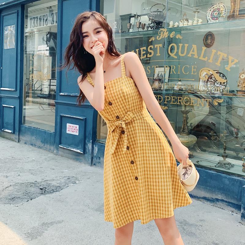實拍2019復古格子吊帶裙夏新款韓版女修身顯瘦連衣裙