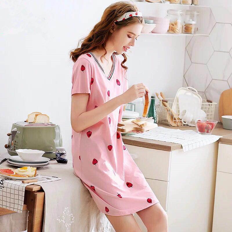 夏季新款純棉睡裙女夏短袖睡衣V領可愛甜美草莓短裙連衣裙家居服