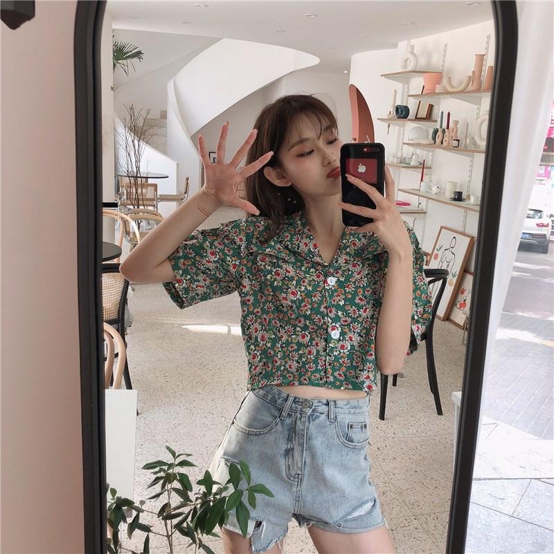 实拍实价 控价33 韩版西装领短袖复古碎花衬衫泡泡袖短款衬衣