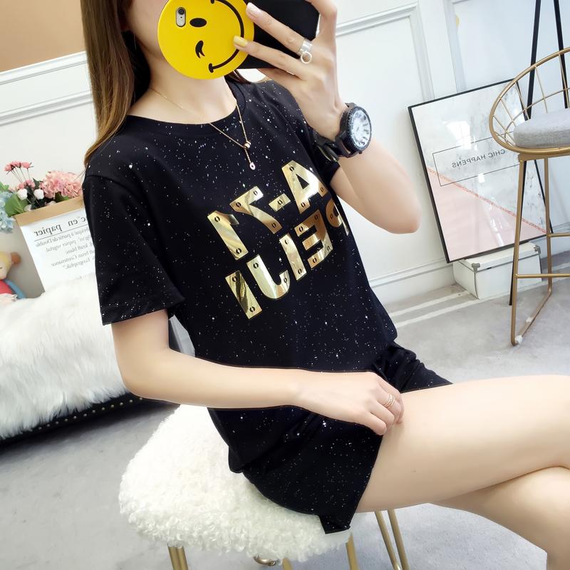 实拍亮晶晶运动套装女韩版时尚显瘦潮学生短袖休闲服两件套洋气