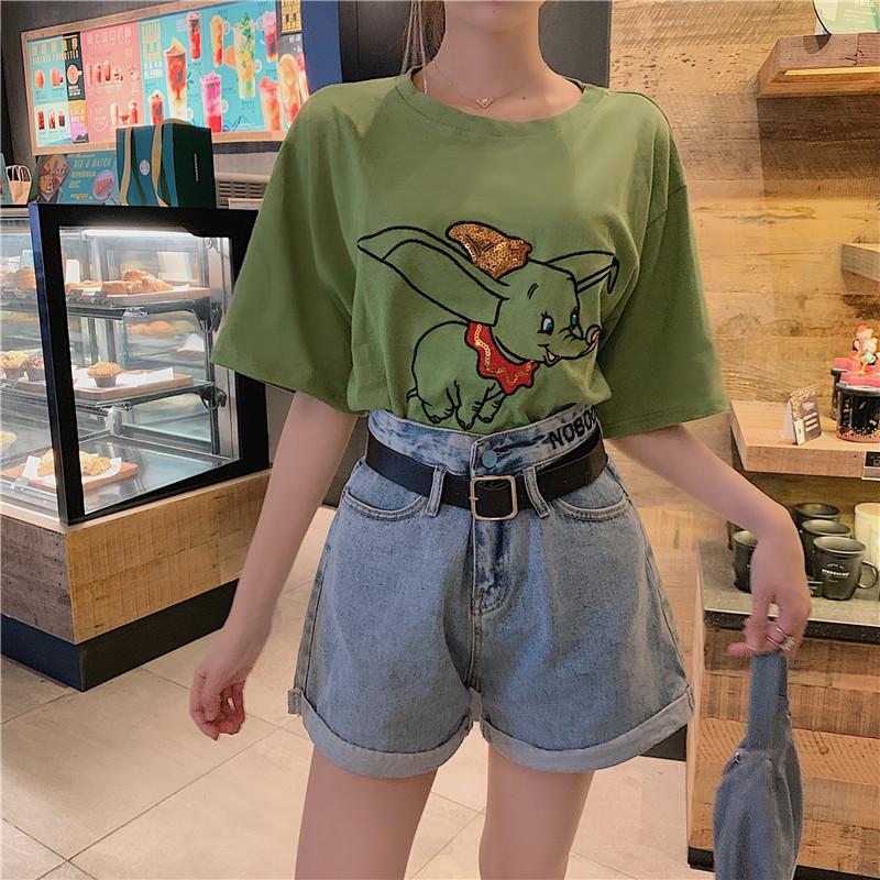 實拍實價 控價32-39 小飛象亮片刺繡T恤+高腰刺繡字母牛仔短褲