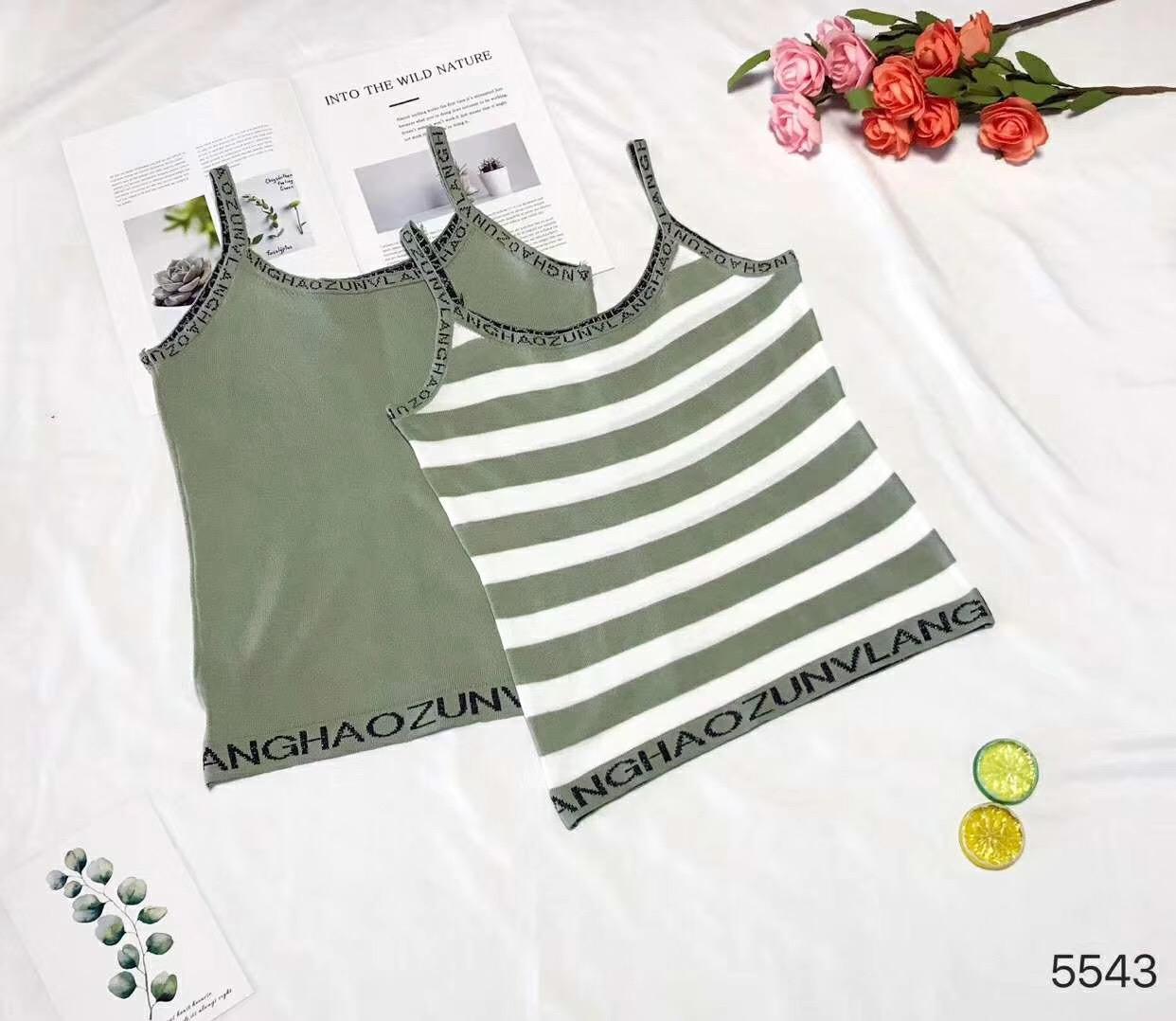 时尚潮流字母银线提花撞色条纹背心