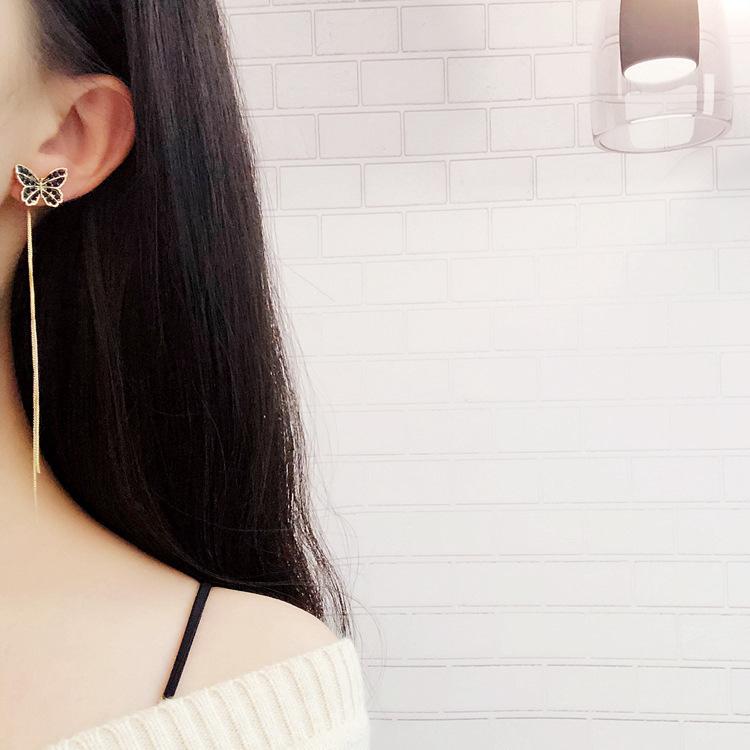 韩国东大门蝴蝶流苏耳环银针森系超仙长款耳坠网红气质少女心耳饰