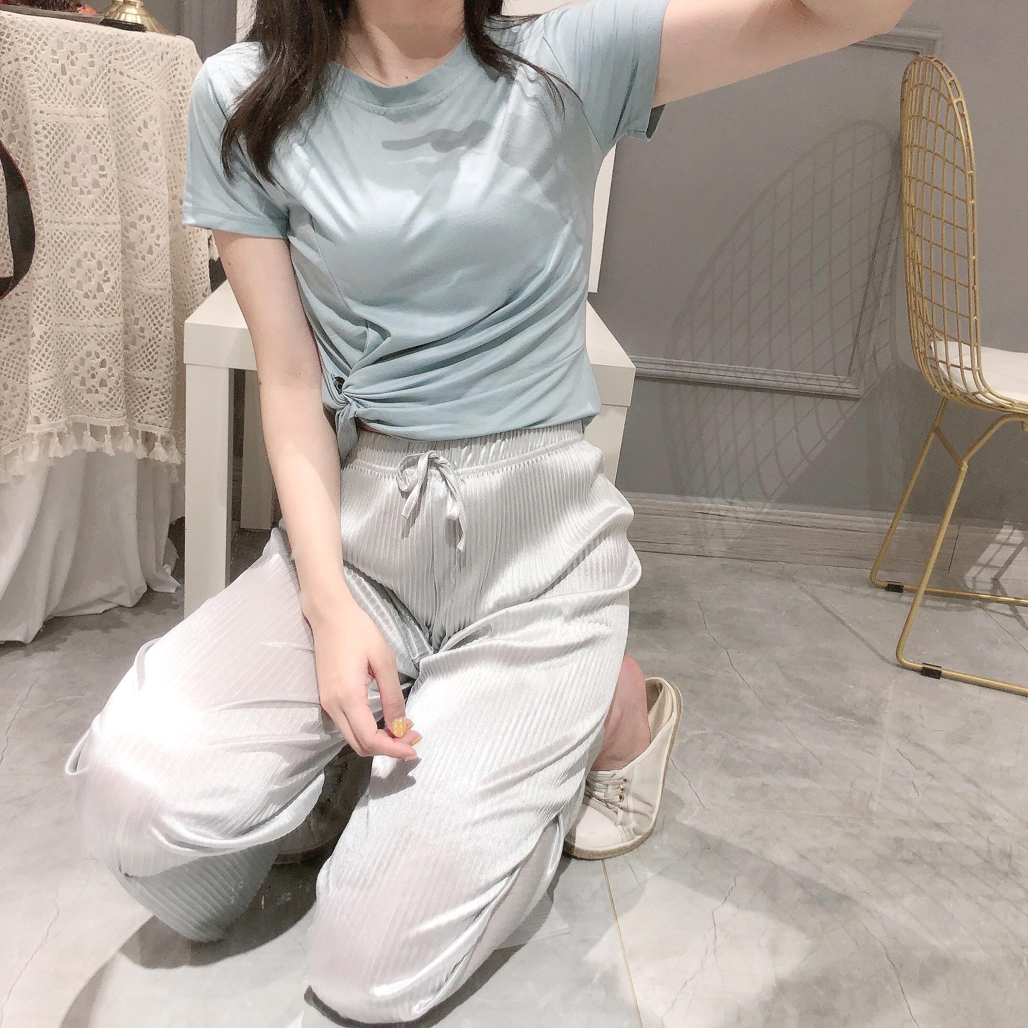 實拍很仙的兩件套女2019新款韓版短袖T恤+高腰九分褲洋氣網紅套裝