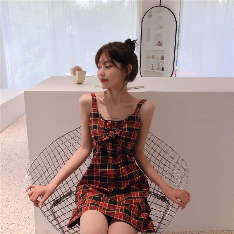 實拍實價 控價39.9 胸前蝴蝶結設計格子吊帶連衣裙