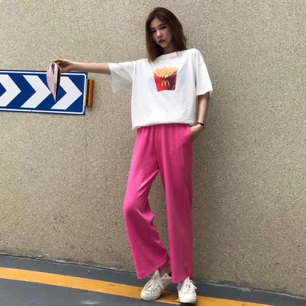 雪梨錢夫人2019夏季新品韓版百搭顯瘦薯條字母T恤+褲子兩件套裝