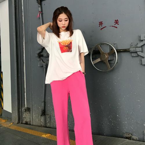 雪梨钱夫人2019夏季新品韩版百搭显瘦薯条字母T恤+裤子两件套装