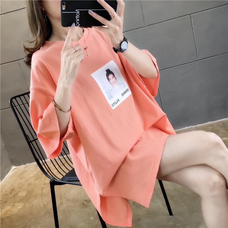 实拍2019夏款棉质不?#24405;?#32593;红同款韩版宽松短袖中长t恤女上衣
