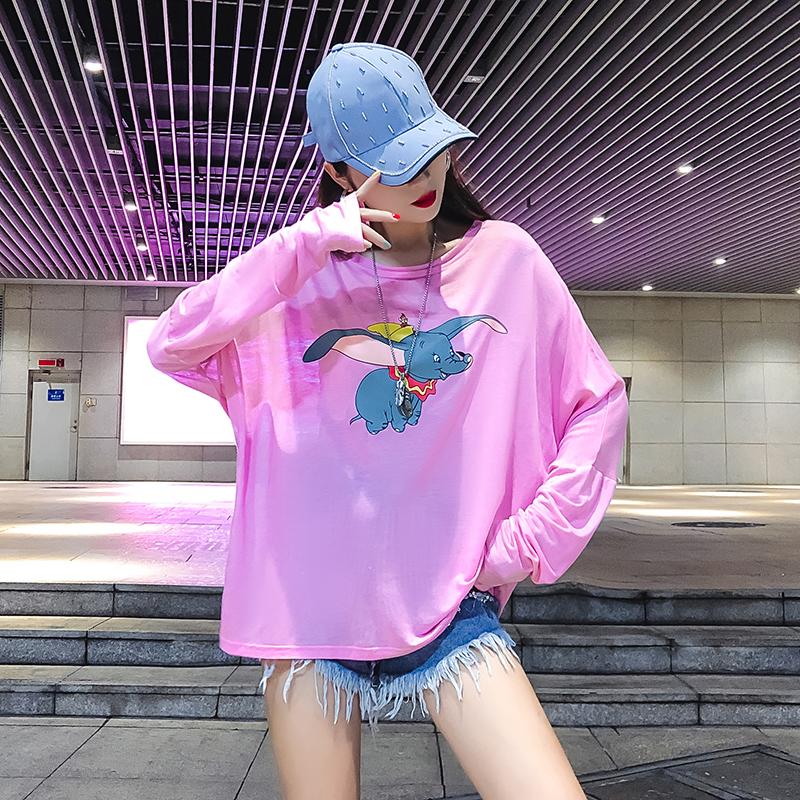 스팟 실제 촬영 2019 여름 뉴 그물 레드 울트라 얇은 통기성 긴 소매 들어 갔어 의류 덤보 티셔츠 여성