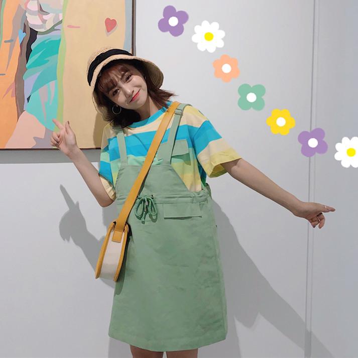 控件5实拍?#23548;?#26032;款糖果裙套装韩版条纹短袖T恤+背带裙两件套