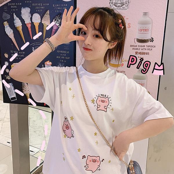 春夏韓版寬松豬豬短袖T恤女網紅白色上衣學生中長款打底衫